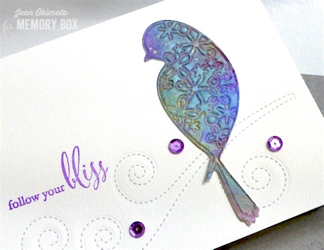 MemoryBoxAirinBird-MemoryBoxSwirlingStitches-MemoryBoxFollowYourBliss-JeanOkimoto-ImagineCrafts-BrillianceInkpads-RadiantNeons-SheerShimmerSpritz-PeerlessWatercolors-ImpressCardsAndCrafts