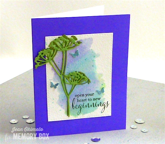MemoryBoxAdelaideStem-MemoryBoxMiniButterflies-MemoryBoxBeginnings-MemoryBoxOpenStudioStitchedRectangleLayers-JeanOkimoto-PeerlessWatercolors-ImagineCrafts-VersaFine