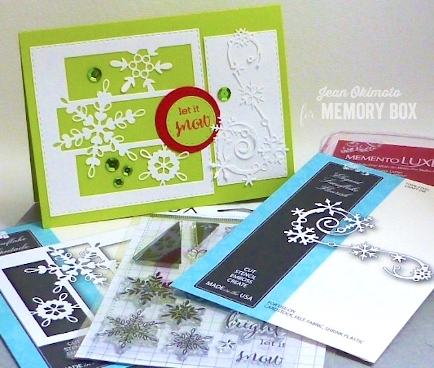 MemoryBoxSnowflakeSpectacle-MemoryBoxElegantSnowflakeFlourish-MemoryBoxOpenStudioMakingSpiritsBrightClearStamps-JeanOkimoto-ImagineCrafts-MemoryBoxHoliday2016