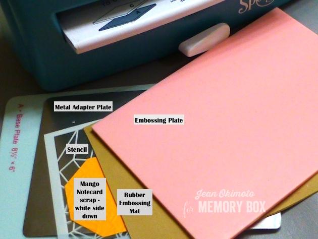 MemoryBoxDelicateWebStencil-DryEmbossing-PressureEmbossing-MemoryBoxMetalAdapterPlate-JeanOkimoto