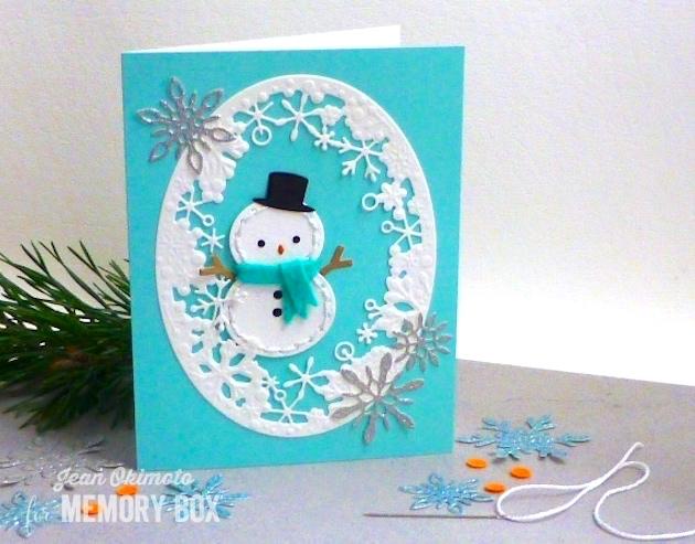 MemoryBoxPlushSheldon-MemoryBox/dancingSnowflakeOval-MemoryBoxDelicateStitchedSnowflakes-JeanOkimoto-FeltDiecuts-Snowman