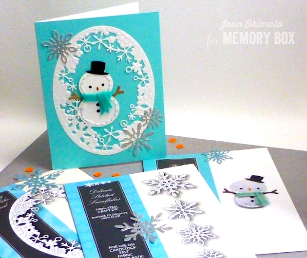 MemoryBoxPlushSheldon-MemoryBoxDelicateStitchedSnowflakes-MemoryBoxDancingSnowflakeOval-MemoryBoxSeptember2016Release-JeanOkimoto-FeltDiecuts-Snowman