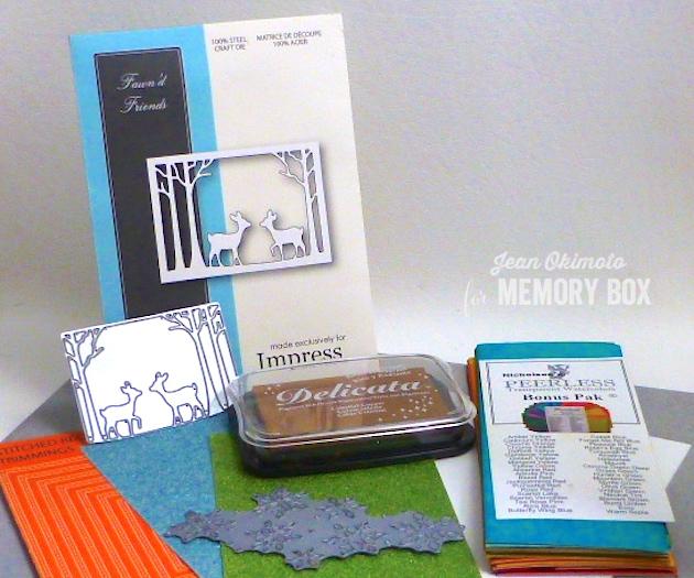 MemoryBoxImpressExclusiveFawn'dFriends-MemoryBoxSnowBurst-MemoryBoxStitchedRectangleTrimmings-JeanOkimoto-ImagineCraftsDelicata-PeerlessWatercolors-ImpressCardsandCrafts