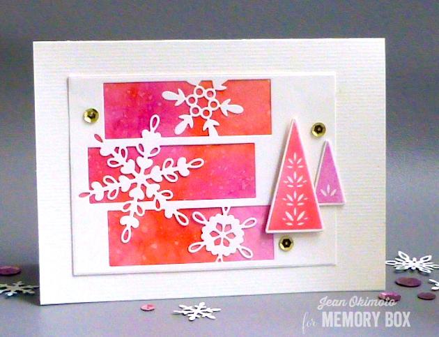 MemoryBoxSnowflakeSpectacle-MemoryBoxStitchedRectangleTrimmings-MemoryBoxMakingSpiritsBrightDieSet-MemoryBoxMakingSpiritsBrightClearStampSet-JeanOkimoto-ImagineCraftsBrillianceInkpads-PeerlessWatercolors-PeerlessTransparentWatercolors-SnowflakeHolidayCards-WatercoloredHolidayCards