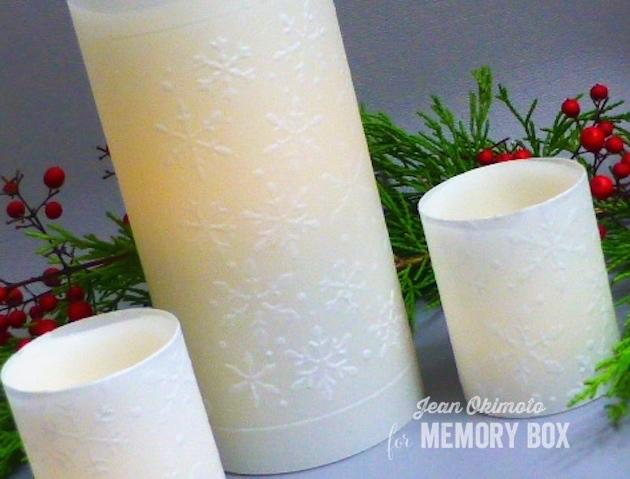MemoryBoxSnowflakesStencil-EmbossingOnVellum-ChristmasCandles-JeanOkimoto
