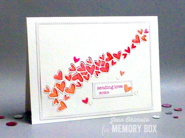 MemoryBoxHeartWave-MemoryBoxStitchedRectangleTrimmings-MemoryBoxSoManyThingsToLove-JeanOkimoto-PeerlessWatercolors-WatercoloredValentines-WatercoloredHearts
