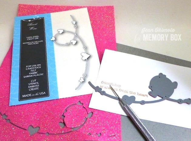 MemoryBoxHeartWire-MemoryBoxSoManyThingsToLove-JeanOkimoto-GlitteredCraftFoam-HeartCards