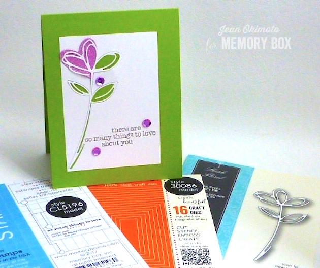 MemoryBoxSketchFloral-MemoryBoxClassicStitchedHeartCollection-MemoryBoxRectangleBasicsSet-MemoryBoxSoManyThingsToLove-JeanOkimoto-ImagineCrafts-Valentines-GlitteredValentines