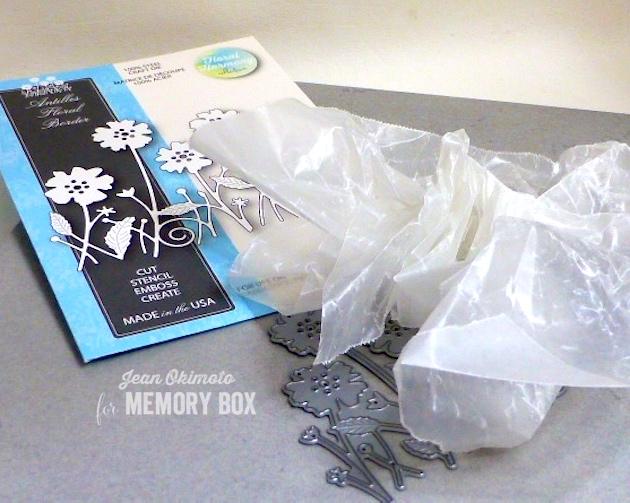 MemoryBoxAntillesFloralBorder-ScrunchedWaxedPaperForPreppingDies-JeanOkimoto