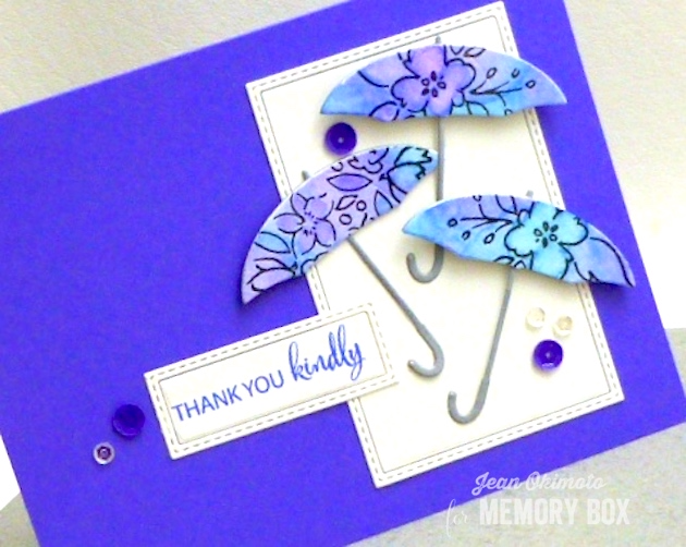 MemoryBoxProperUmbrella-MemoryBoxSoManyThingsToLove-MemoryBoxWatchingTheWorldBloom-MemoryBoxStitchedRectangleTrimmings-JeanOkimoto-ImagineCraftsKaleidacolor-WatercoloredCards-UmbrellaCards