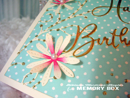 H'bday turquoise pink detail flowers