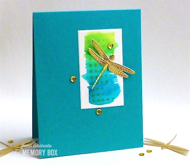 MemoryBoxDazzlingDragonfly-MemoryBoxModernBorderTrim-MemoryBoxRectangleBasics-JeanOkimoto-ImagineCraftsKaleidacolor-ImagineCraftsDelicata-WatercoloredCards-DragonFlyCards-StenciledCards