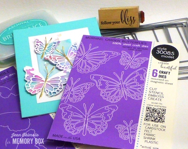 MemoryBoxMorningGardenButterflies-MemoryBoxButterflyEnsemble-MemoryBoxFollowYourBliss-MemoryBoxRectangleBasics-JeanOkimoto-ImagineCraftsBrilliance-WatercoloredButterflies-WatercoloredCards