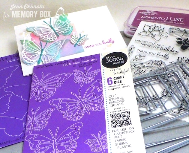 MemoryBoxButterflyEnsemble-MemoryBoxMorningGardenButterflies-MemoryBoxSquareBasicsSet-MemoryBoxWatchingTheWorldBloomStamps-JeanOkimoto-WatercoloredCards-WatercoloredButterflies-ImagineCrafts