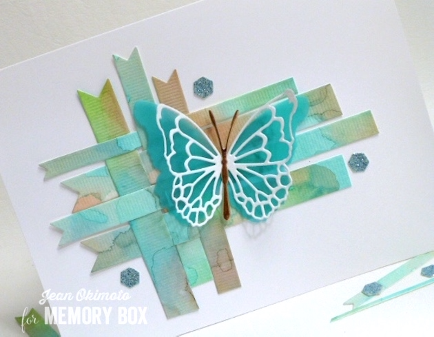 MemoryBoxMorningGardenButterflies-MemoryBoxButterflyEnsemble-MemoryBoxGrosgrainRibbons-MemoryBoxHoneycombBackground-JeanOkimoto-WatercoloredCards-ButterflyCards