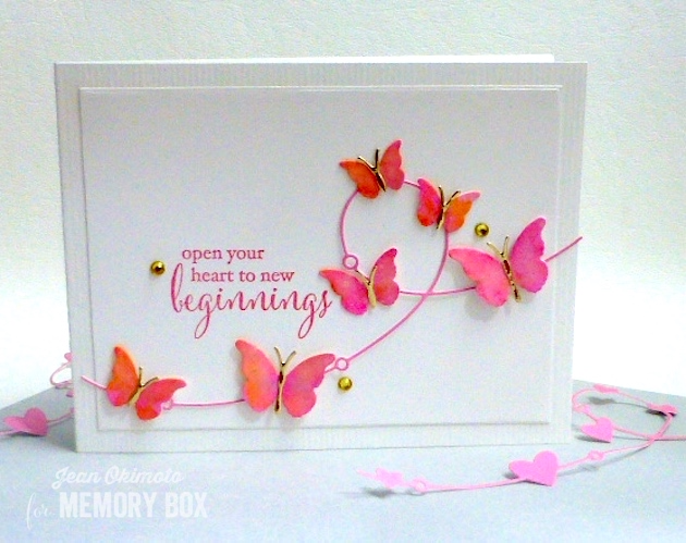 MemoryBoxHeartWire-MemoryBoxButterflyWingMedley-MemoryBoxRectangleBasics-MemoryBoxNewBeginnings-JeanOkimoto-WatercoloredCards-WatercoloredButterflies-ButterflyCards-ImagineCraftsSheerShimmerSpritz-ImagineCraftsBrillianceInkpads-ImpressCardsAndCrafts-DiecutButterflies