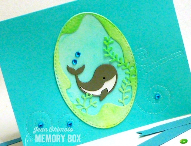 MemoryBoxNeighborlyNarwhal-MemoryBoxSeaweedCollage-MemoryBoxSwirlingStitches-MemoryBoxOpenStudioStitchedOvalLayers-MemoryBoxPoolNotecards-JeanOkimoto-WatercoloredCards-WhaleCards-OceanCards-PeerlessWatercolors