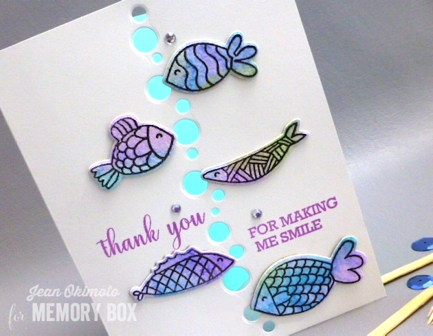 MemoryBoxMay2017Collection-MemoryBoxFishTales-MemoryBoxDibbleDotBorder-MemoryBoxOpenStudioThankYouSentiments-JeanOkimoto-ImagineCrafts-ShizenDesign-ImpressCardsAndCrafts-WatercoloredFishCards-DiecutFishCards