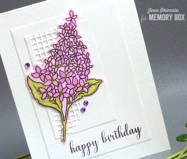 MemoryBoxSpringLilacsClearStampSet-MemoryBoxSpringLilacsDieSet-MemoryBoxOpenStudioDistressedBaptisiaCollageDieSet-MemoryBoxOpenStudioBirthdaySentimentsClearStampSet-MemoryBoxRectangleBasicsDies-JeanOkimoto-ImagineCrafts-WatercoloredCards-WatercoloredFlowerCards-WatercoloredBirthdayCards