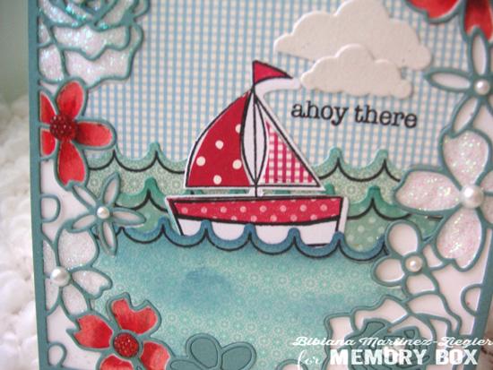 Boat inlay detail waves