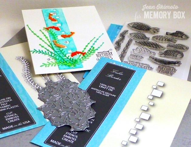 MemoryBoxSeaweedStalks-MemoryBoxCubicBorder-MemoryBoxGoldfishCollage-MemoryBoxOpenStudioFishTalesClearStampSet-JeanOkimoto-PeerlessWatercolors-WatercoloredCards-WatercoloredDiecuts-FeltDiecuts