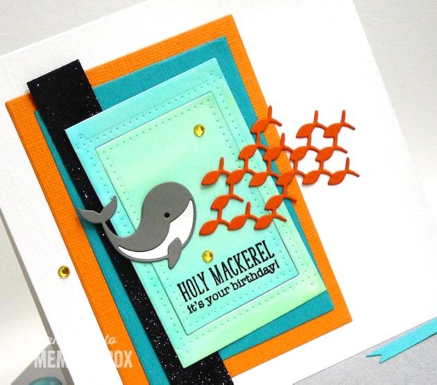 MemoryBoxFamilyOfFish-MemoryBoxSinglePinpointFrame-MemoryBoxRectangleBasics-MemoryBoxNeighborlyNarwhal-JeanOkimoto-PeerlessWatercolors-VersaFine-WhaleCards-FishCards-WatercoloredBackgroundCards
