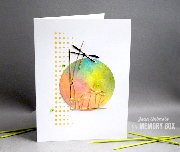 MemoryBoxDragonflyStemsLeftCorner-MemoryBoxModernBorderTrim-MemoryBoxPinpointCircleFrame-JeanOkimoto-DistressOxides-WatercoloredCards-DragonflyCards-SummerCards-WatercoloredSummerCards-ImagineCraftsDelicata