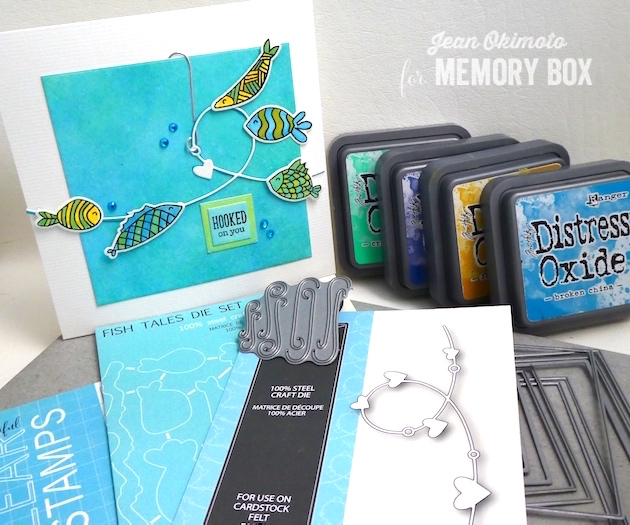 MemoryBoxOpenStudioFishTalesStampSet-MemoryBoxHeartWire-MemoryBoxFishTalesDieSet-MemoryBoxOrnamentCapsAndHooks-MemoryBoxSquareBasics-JeanOkimoto-DistressOxides-WatercoloredCards-FishCards-WatercoloredFishCards-VersaFine-DiecutFishCards