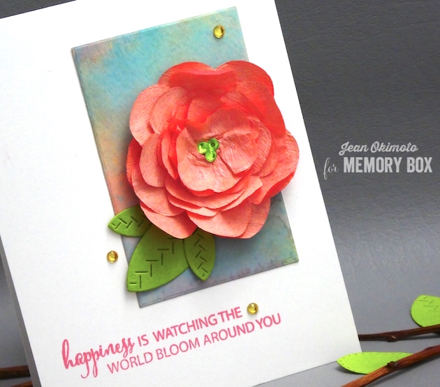 MemoryBoxPlushCamellia-MemoryBoxCircleBasics-MemoryBoxRectangleBasics-MemoryBoxStitchedLeaves-MemoryBoxWatchingTheWorldBloomStampSet-JeanOkimoto-DistressOxides-WatercoloredCards-DiecutFlowers-DiecutCrepePaperFlower-DiecutFlowerCards