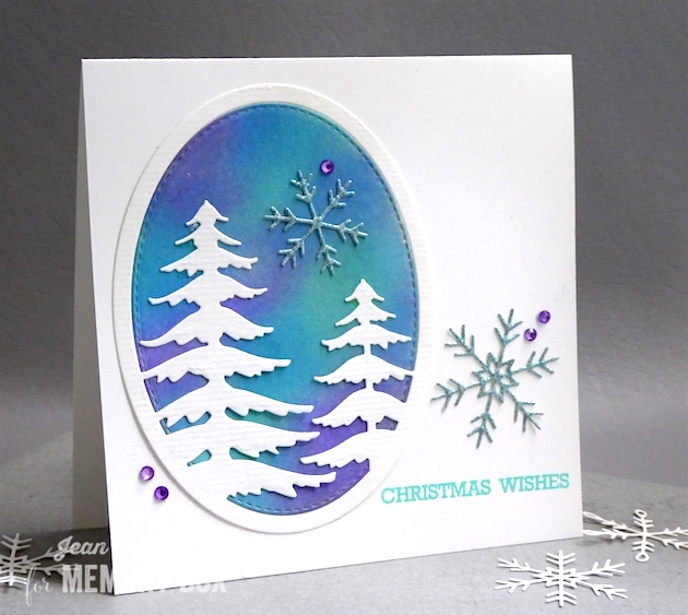 MemoryBoxHoliday2017-MemoryBoxSnowyPineOval-MemoryBoxPiccoloSnowflakes-MemoryBoxStitchedOvalLayers-MemoryBoxBlessedToKnowYou-JeanOkimoto-MemoryBoxChristmasCards-DistressedOxides-BrillianceInkpads-WatercoloredBackgrounds-DistressOxideWatercoloredBackgrounds-DiecutChristmasCards-ImpressCardsAndCrafts