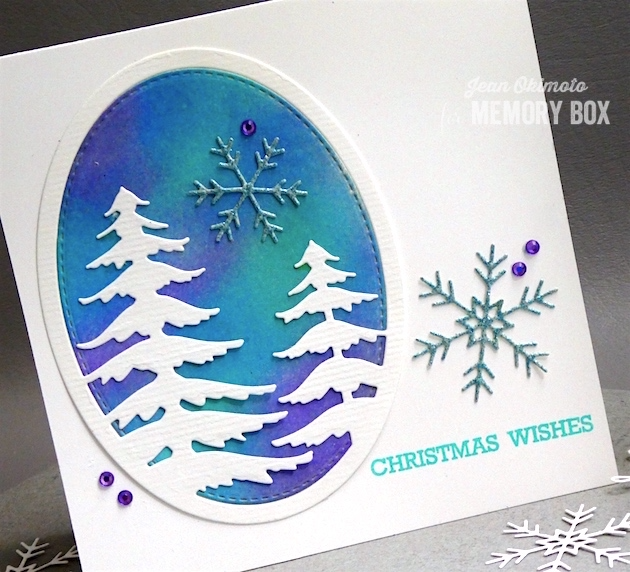 MemoryBoxHoliday2017-MemoryBoxSnowyPineOval-MemoryBoxPiccoloSnowflakes-MemoryBoxBlessedToKnowYouClearStamps-MemoryBoxStitchedOvalLayers-JeanOkimoto-MemoryBoxChristmasCards-DistressOxides-DiecutChristmasCards-WatercoloredChristmasCards-WatercoloredBackgrounds-BrillianceInkpads-GlitteredDiecuts