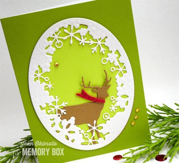 MemoryBoxSingleDeerOval-MemoryBoxDancingSnowflakeOval-MemoryBoxStitchedOvalLayers-MemoryBoxCurledRibbons-JeanOkimoto-MemoryBoxChristmasCards-DiecutChristmasCards-SnowflakeCards