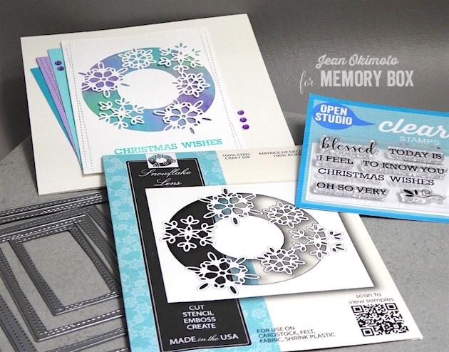 MemoryBoxSnowflakeLens-MemoryBoxWrappedStitchRectangles-MemoryBoxOpenStudioBlessedToKnowClearStamps-JeanOkimoto-MemoryBoxHoliday2017-MemoryBoxChristmasCards-SnowflakeCards-DiecutCards