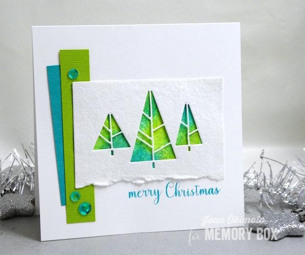 MemoryBoxDecoTrees-MemoryBoxRectangleBasics-MemoryBoxOpenStudioMerryChristmasSentiments-JeanOkimoto-ShizenDesignWatercolorPaper-WatercoloredChristmasCards-DistressOxides-ChristmasDiecuts-ImpressCardsAndCrafts