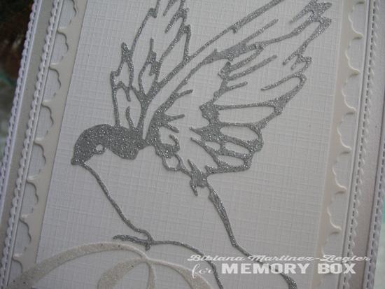 Xmas silver bird detail