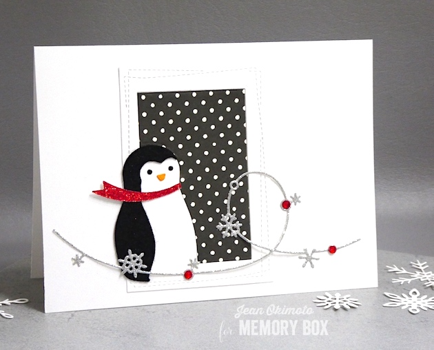 MemoryBoxPenguinCollage-MemoryBoxSnowFlakeWire-MemoryBoxWrappedStitchRectanglels-MemoryBoxCurledRibbons-JeanOkimoto-MemoryBoxChristmasCards-MemoryBoxPenguinCards-SnowflakeCards-PenguinCards-ImpressCardsAndCrafts-DiecutChristmasCards-PenguinDiecuts