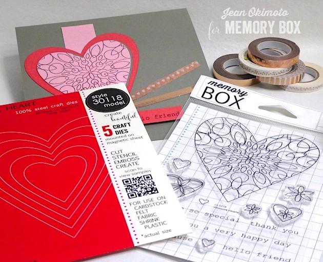 MemoryBoxHaveAHeart-MemoryBoxWireworkHeartsClearStampSet-MemoryBoxRectangleBasics-JeanOkimoto-BirchPressDesignSugarTapes-MemoryBoxValentines-DiecutValentines-HeartCards