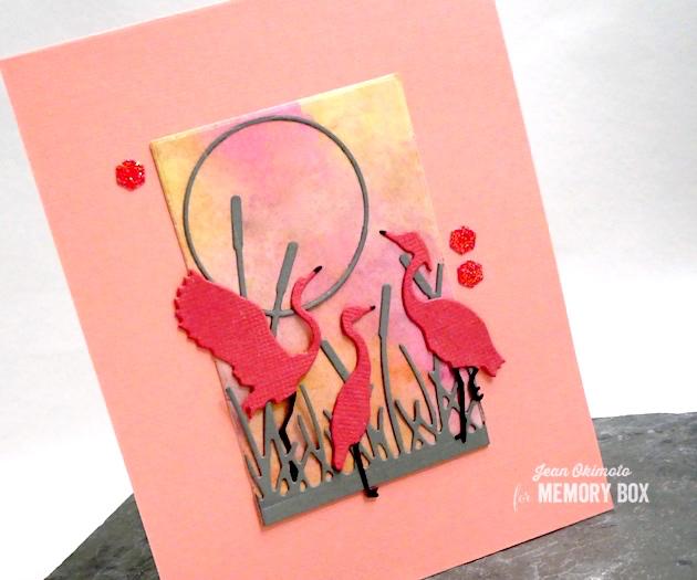 MemoryBoxElegantShorebirds-MemoryBoxRectangleBasics-MemoryboxCatTailSunrise-MemoryBoxHoneycombSquare-JeanOkimoto-CardsWithMemoryBoxDiecuts-FlamingoCards