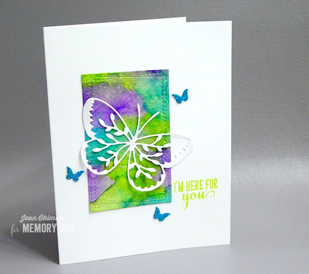MemoryBoxVineButterfly-MemoryBoxMiniButterflies-MemoryBoxWrappedStitchRectangles,MemoryBoxBirdSanctuaryClearStamps-JeanOkimoto-MemoryBoxButterflies-MemorytBoxButterflyCards-WatercoloredCards-DiecutButterflyCards-VersaFineClair-Kaleidacolor-ImpressCardsAndCrafts