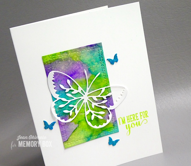 MemoryBoxVineButterfly-MemoryBoxMiniButterflies-MemoryBoxWrappedStitchRectangles-MemoryBoxBirdSanctuaryClearStamps-JeanOkimoto-MemoryBoxButterflies-MemoryBoxButterflyCards-ButterflyCards-WatercoloredButterflyCardsp-Kaleidacolor-VersaFineClair-ImpressCardsAndCrafts
