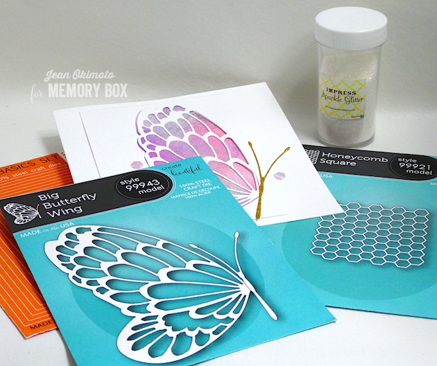 MemoryBoxBigButterflyWing-MemoryBoxHoneycombSquare-MemoryBoxRectangleBasics-JeanOkimoto-MemoryBoxButterflies-MemoryBoxHoneycombs-MemoryBoxButterflyCards-DiecutButterflyCards-LiquidWatercolors