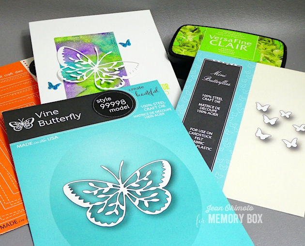 MemoryBoxVineButterfly-MemoryBoxMiniButterflies-MemoryBoxWrappedStitchRectangles-JeanOkimoto-VersaFineClair-Kaleidacolor-MemoryBoxButterflies-MemoryBoxButterflyCards