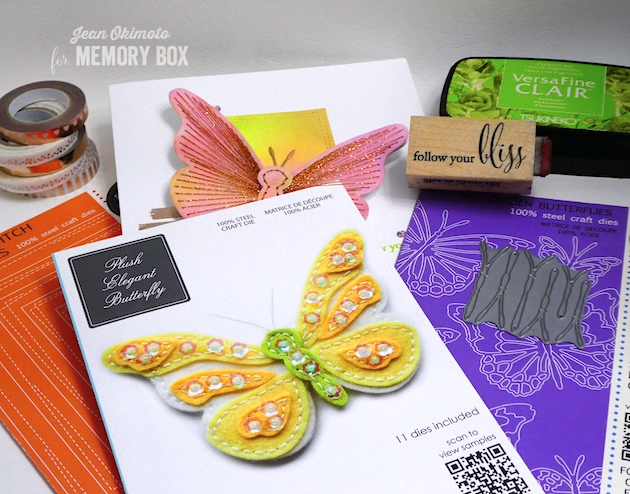 MemoryBoxPlushElegantButterfly-MemoryBoxWrappedStitchRectangles-MemoryBoxFollowYourBliss-MemoryBoxMorningGardenButterflies-JeanOkimoto-VersaFineClair-WatercoloredButterflies-WatercoloredCards-ButterflyDiecutCards