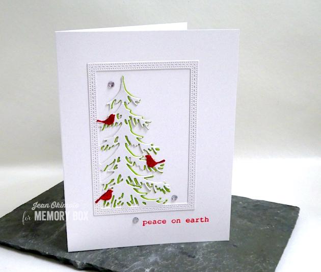 MemoryBoxDelicatePineFrame-MemoryBoxTypewriterHolidaySentimentsClearStamps-JeanOkimoto-ImpressCardsAndCrafts-ImagineCrafts-VersaFineClair-MemoryBoxHoliday2018-MemoryBoxChristmasCards-ChristmasTreeCards-BirdCards-ChristmasDiecuts