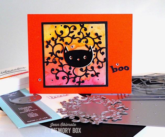 MemoryBoxHuttonWreath-MemoryBoxWhimsyCat-MemoryBoxPlayfulBoo-MemoryBoxSquareBasics-MemoryBoxSpeckledBackground-JeanOkimoto-Kaleidacolor-ImagineCrafts-HalloweenDiecuts-WatercoloredHalloweenCards