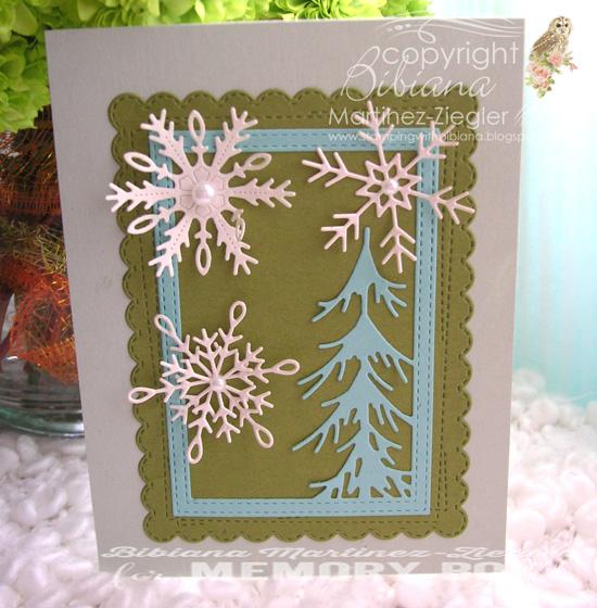 Xmas snowflakes pines front
