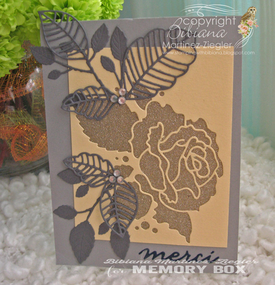 Merci rose in grey front
