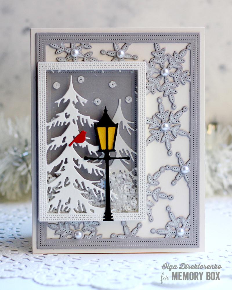 10 - Snowy Lantern Shaker Card 1