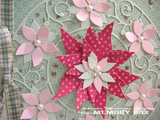 Xmas pink circle poinsettia detail