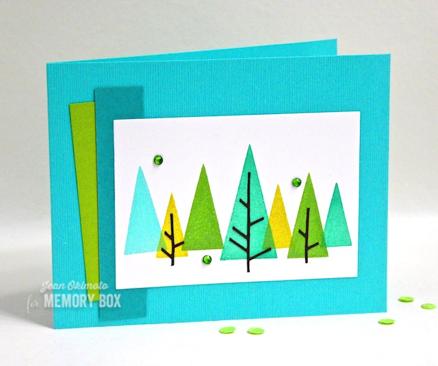 MemoryBoxThat'sAcuteTriangleDies-MemoryBoxThat'sAcuteTriangleClearStamps-MemoryBoxDecoTrees-MemoryBoxRectangleBasics-JeanOkimoto-ImagineCrafts-BrillianceInkpads-ImpressCardsAndCrafts-TriangleDiecuts-ContemporaryChristmasCards